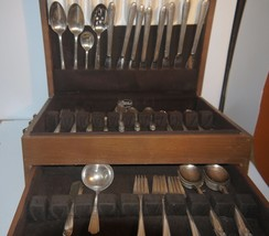 Large Set of Silver Flatware in Tiered Wooden Case Lines w/Pacific Silver Cloth - $104.94