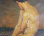 original classic oil painting nude artwork male nude wild goose on linen #16-7-2