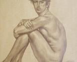 original artwork drawing sketch male nude man on borwn paper#16-6-19-05