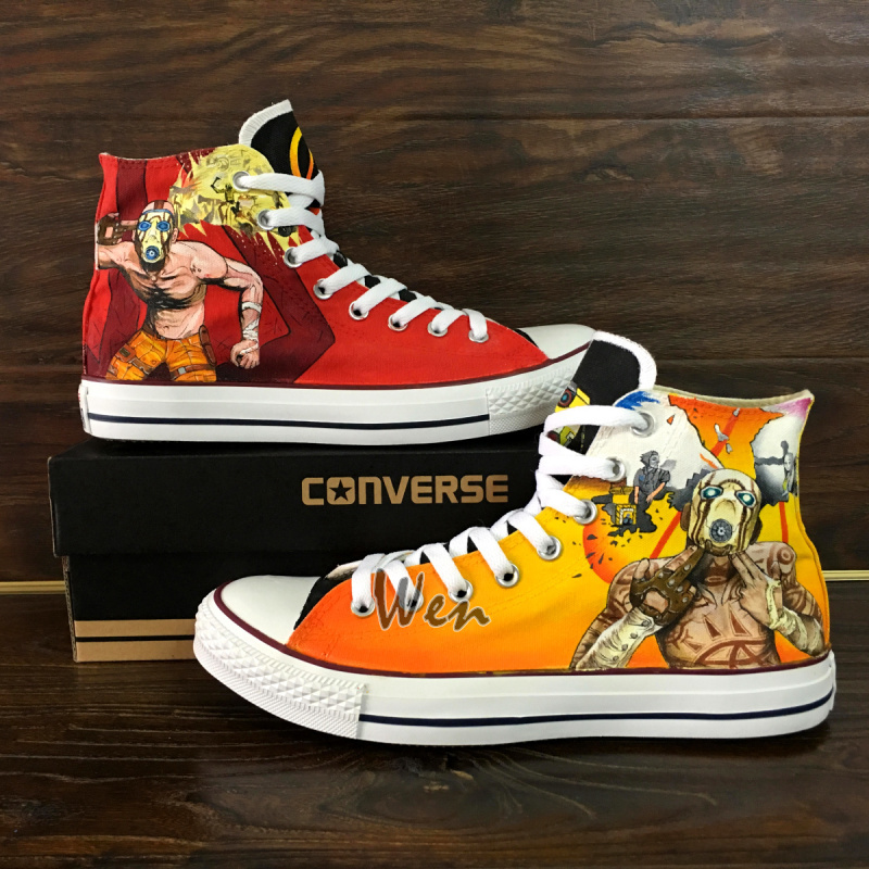 Borderlands 2 Design Hand Painted Converse All Star Canvas Shoes Unisex Sneakers