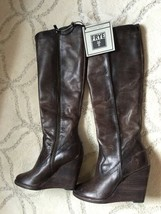 Frye Cece Seam Knee High Wedge Boots Womens 8 Slate Leather NEW $388 FAB... - $177.21