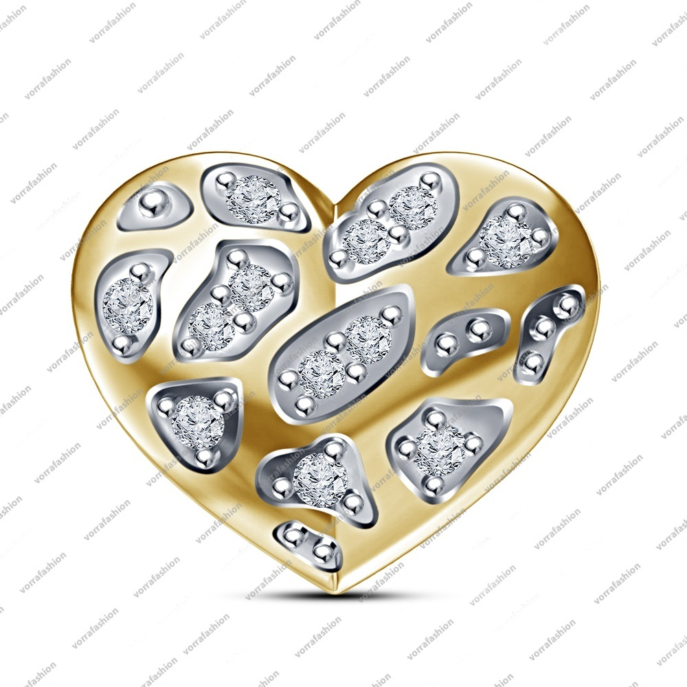 New Fits Pandora Charms Bracelet In 925 Sterling Silver Beads CZ Heart Charm for sale  USA