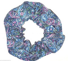 Blue Paisley Hair Scrunchie Scrunchies by Sherry Ponytail Holder Cotton Fabric - $6.99