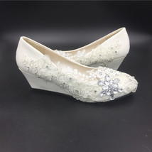 Ivory White Lace Wedding Wedges Shoes/Low Heels Bridals Wedges/Wedding Wedges - $48.00+