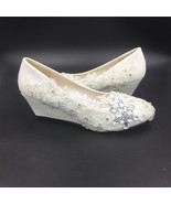 Ivory White Lace Wedding Wedges Shoes/Low Heels Bridals Wedges/Wedding W... - $48.00+