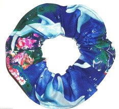 Dolphins Reef Fish Royal Blue Fabric Hair Ties Scrunchie Scrunchies - $6.99
