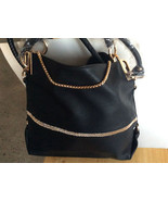 Luxury Designer Blk Leather Handbag w/Rhinestones Gold Chain Braided Han... - $49.49