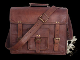 "15""Men's Real Goat Leather Vintage Brown Messenger Shoulder Laptop Bag B... - $30.23"