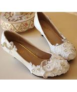Low heels Lace wedding shoes,Bridesmaid Shoes,Swarovski crystal Wedding ... - $48.00