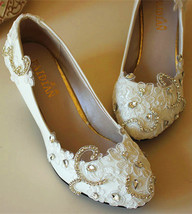 Low heels Lace wedding wedges,Bridesmaid wedges Shoes,Swarovski crystal ... - $48.00+