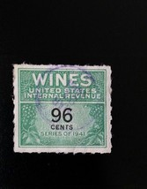 1942 96c U.S. Internal Revenue Cordial & Wine, Green & Black Scott RE145... - $1.77