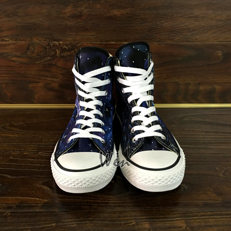 Police Box Galaxy Converse All Star Women Men Sneakers Hand Painted Shoes Unisex