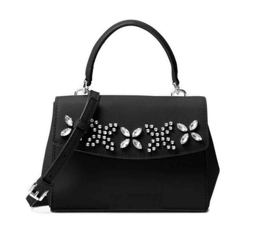 ab263ce9f805 57. 57. Previous. MICHAEL KORS Ava extra small Mini Crossbody Jewel Crystal-Embellished  Black NWT