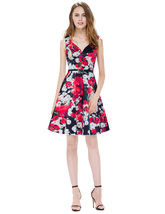 Black Peach Shape Collar floral Print Sleeveless Fit And Flare Dress - $65.00