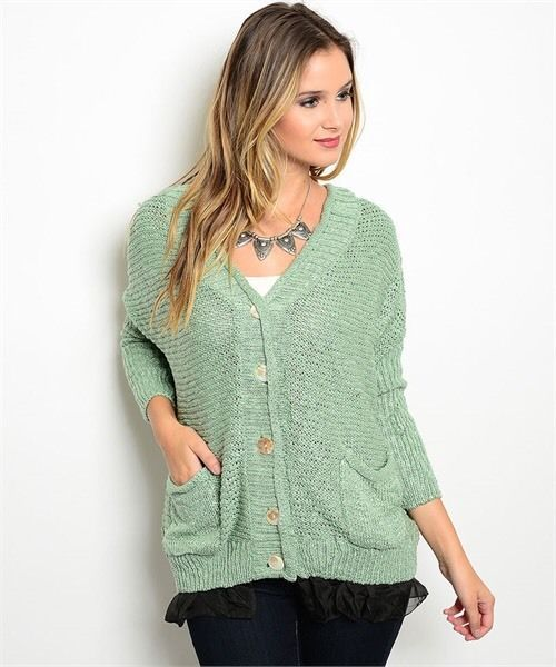Sage Green 2 Pocket Cardigan Sweater w/ Black Netting Sz Small - $39.00