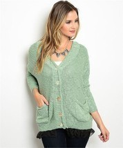 Sage Green 2 Pocket Cardigan Sweater w/ Black Netting Sz Small - £30.09 GBP