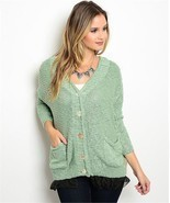 Sage Green 2 Pocket Cardigan Sweater w/ Black Netting Sz Small - £30.27 GBP
