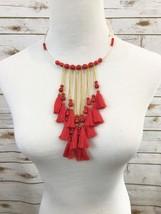 Fringe Necklace, Tassel Necklace, Red Bead, Choker - $23.54 CAD
