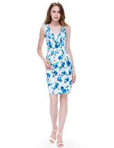 White V Neck Floral Print Sleeveless Knee Length Sheath Casual Dress   - $64.00