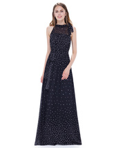 Black High Neck Sleeveless Embellished Maxi Dress With Illusion Top - $82.00