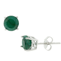 925 Sterling studs earring with round emerald gemstone earring SHER0260 - $11.99