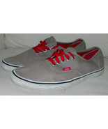 Off the Wall VANS Mens 9.5 Womens 11 SHOES Sneakers RED LACES Beige TAN - $34.64