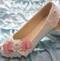 Low heels Lace wedding wedges,Bridesmaid wedges Shoes,Pink Bowtie Bridals wedges - $48.00+