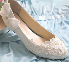 Low heels Lace wedding wedges,Bridesmaid wedges Shoes,Ivory White Bridal... - £38.61 GBP+