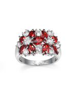 Chic cocktail ring Swarovski element crystal ring women gift white gold ... - $20.65