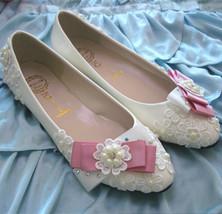 Pink Bowtie Lace wedding flats,Bridesmaid flats Shoes,Bridals ballet fla... - £39.24 GBP