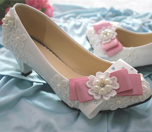 Primary image for Low heels Lace wedding shoes,Bridesmaid Shoes,Pink Bowtie Bridals heels shoes