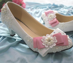 Low heels Lace wedding shoes,Bridesmaid Shoes,Pink Bowtie Bridals heels ... - £38.61 GBP+