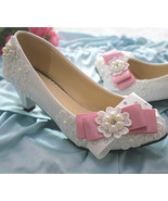 Low heels Lace wedding shoes,Bridesmaid Shoes,Pink Bowtie Bridals heels ... - $63.18 CAD+