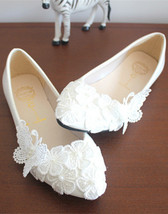 White Lace Wedding Shoes,Bridal lace Shoes,Ladies Shoes,Butterfly Weddin... - £38.61 GBP