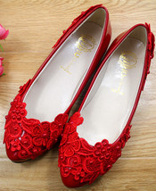 Red Wedding Shoes,Lace Bridal Shoes,Bridesmaids Shoes,Red Women Wedding ... - £39.12 GBP