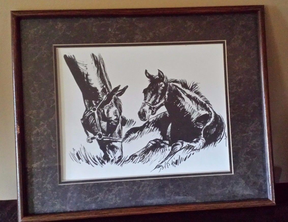 "Primary image for Vintage Charcoal Horses Grazing Drawing Picture Matted Framed 21"" x 17"""