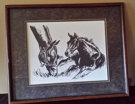 "Vintage Charcoal Horses Grazing Drawing Picture Matted Framed 21"" x 17"" - $39.59"