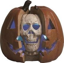 "Resin 11.5"" Double Skull Pumpkin LED Screamer with Sound Halloween Decor... - $24.99"