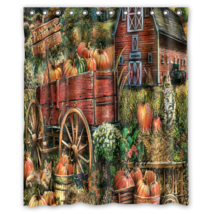 Pumpkin Farm Painting #01 Shower Curtain Waterproof Made From Polyester - $31.26+