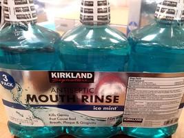 Kirkland Signature Mouthwash Antiseptic Ice Mint 1.5 L (3 Pack) (50.7 Fl... - $34.25