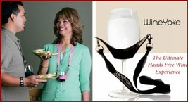 WineYoke Party Time Hand Free Wine Glass Holder Necklace - Set of 4 (BLACK) - $17.41