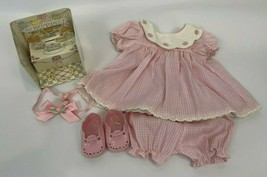 Pleasant Company Bitty Baby Birthday Dress Clothes Pink Gingham Book Shoes Set - $49.49