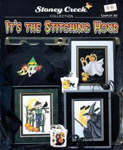 CROSS STITCH STONEY CREEK 82 STITCHING HOUR HALLOWEEN WITCH GHOST SCAREC... - $6.98