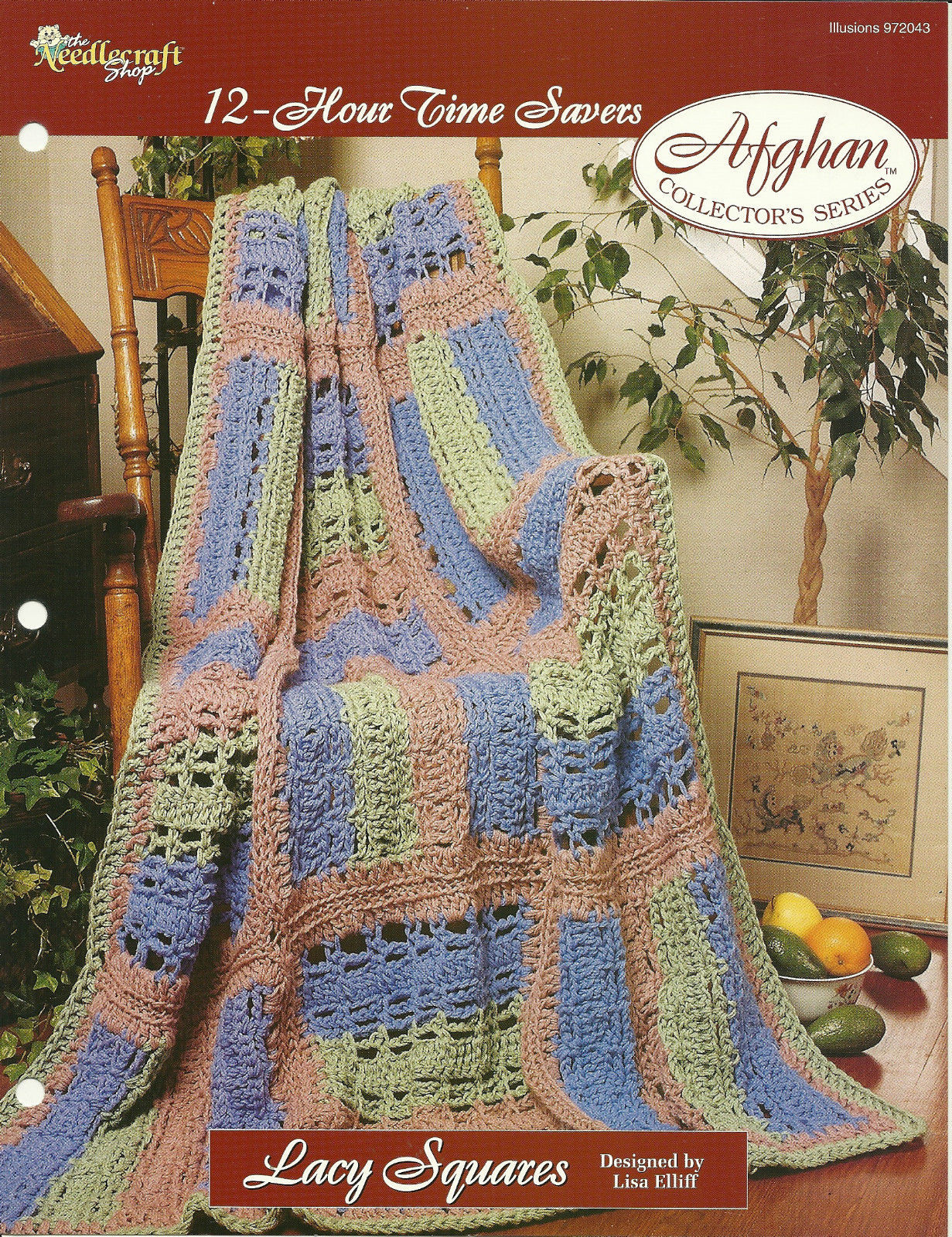 Needlecraft Shop Crochet Pattern 972043 Lacy Squares Afghan Collectors Series