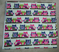 Adorable OWL Fabric MATERIAL Flannel GREEN Navy... - $19.78