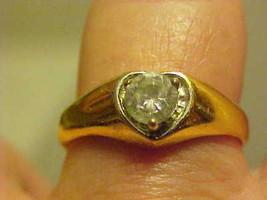Ring Heart Crystal Rhinestone Gold Tone Setting Clear Size 8-9 - $14.55