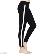 HUE Black Leggings with side stripes - New Size Small - $37.62