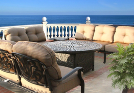 ELISABETH 6PC DEEP SEATING SET WITH FIRE PIT ROUND TABLE BRONZE image 1