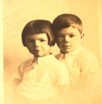 Lovely Real Vintage Photography Kids Children Brother Photo Schabenbeck ... - $7.86