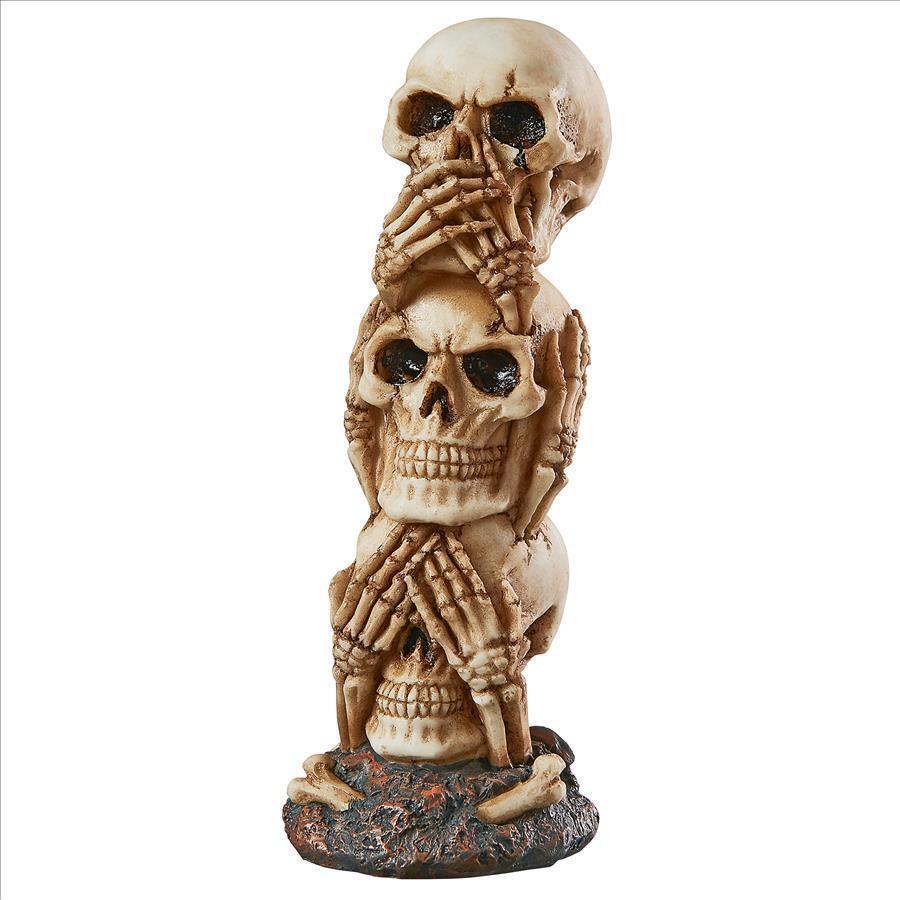 Medium: Three Truths of Man See Hear Speak No Evil Triplet Skull Halloween Decor